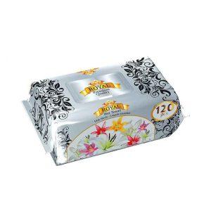 دستمال مرطوب رویال نقره ای 120 برگی ROYAL