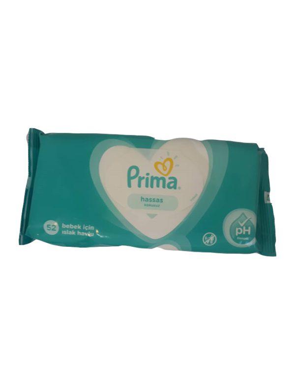 دستمال مرطوب کودک پریما prima مخصوص پوست حساس 52 برگی